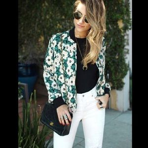 Who What Wear | Floral Light Weight Bomber Jacket